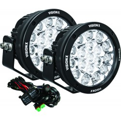 """PAIR OF 6.7"""" 18 LED LIGHT CANNON GEN 2 INCLUDING HARNESS USING DTP CONNECTOR 9-32V DC"""