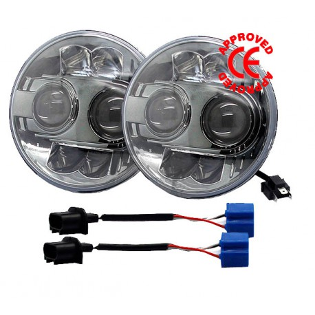"""LIGHT LED 7"""" Round Low-High beam 60W 9-32v CERTIFIED CE (Pair)"""