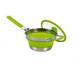Poële 2L - Repliable en acier inox et silicone vert